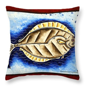 Bottom Of The Sea Creature Original Madart Painting Throw Pillow by Megan Duncanson