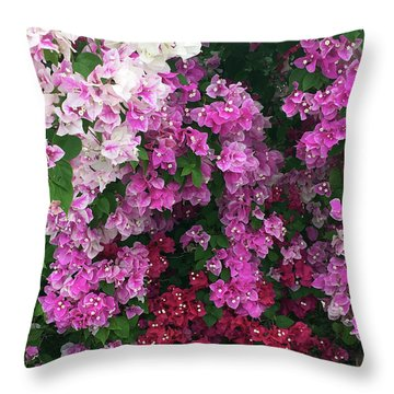 Bougainville Flowers In Hawaii Throw Pillow