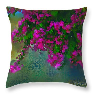 Bougainville Delight Throw Pillow by Seema Sayyidah