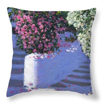 Bougainvillea, Anandas, Milos, Greek Islands Throw Pillow