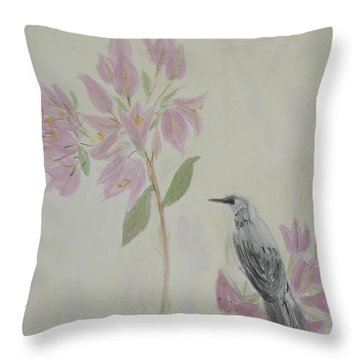 Bougainvillea And Mockingbird Throw Pillow by Donna Walsh
