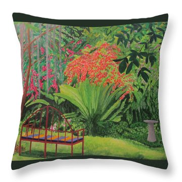 Throw Pillow featuring the painting Bougainvillea Garden by Hilda and Jose Garrancho