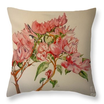 Bougainvillea Throw Pillow by Iya Carson
