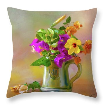 Bougainvilleas In A Green Jar. Throw Pillow