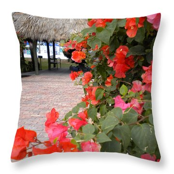Throw Pillow featuring the painting Bouganvilla 2 by Renate Nadi Wesley