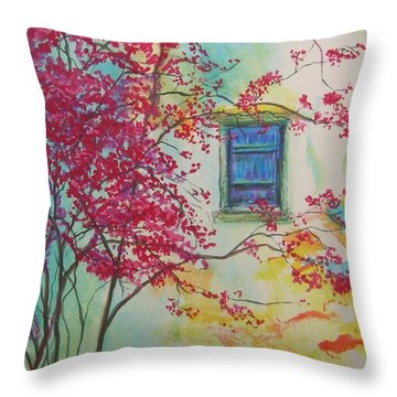 Bouganvilla And Blue Shutter Throw Pillow by Lizzy Forrester
