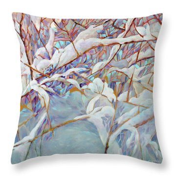 Throw Pillow featuring the painting Boughs In Winter by Joanne Smoley