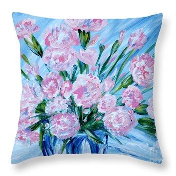 Bouguet Of Carnations.  Joyful Gift. Thank You Collection Throw Pillow