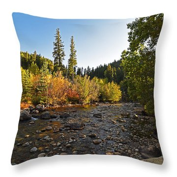 Boulder Colorado Canyon Creek Fall Foliage Throw Pillow