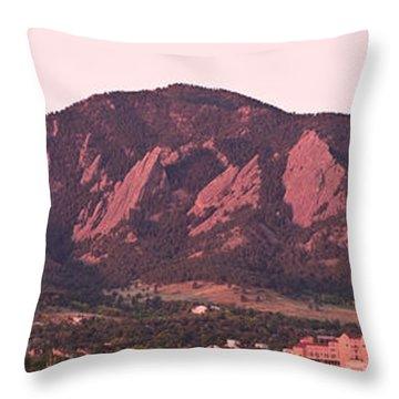 Boulder Colorado Flatirons 1st Light Panorama Throw Pillow