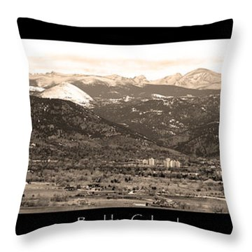 Boulder Colorado Sepia Panorama Poster Print Throw Pillow