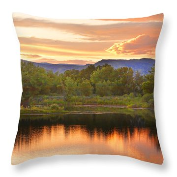 Boulder County Lake Sunset Landscape 06.26.2010 Throw Pillow by James BO  Insogna