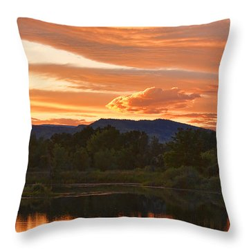 Boulder County Lake Sunset Vertical Image 06.26.2010 Throw Pillow by James BO  Insogna