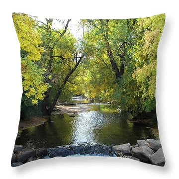 Boulder Creek Tumbling Through Early Fall Foliage Throw Pillow