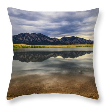 Boulder Flatirons From Marshall Lake Throw Pillow