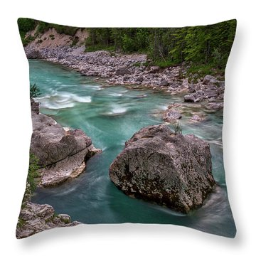 Throw Pillow featuring the photograph Boulder In The River - Slovenia by Stuart Litoff