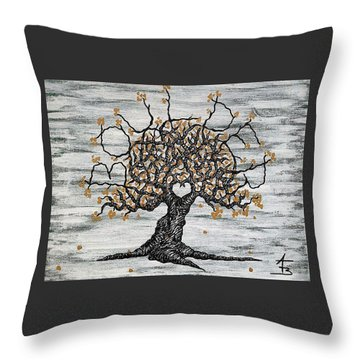 Throw Pillow featuring the drawing Boulder Love Tree by Aaron Bombalicki