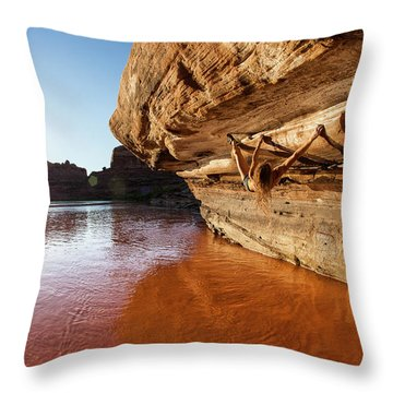Bouldering Above River Throw Pillow