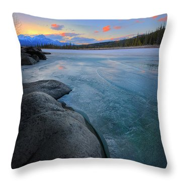 Boulders And Ice On The Athabasca River Throw Pillow