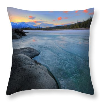 Boulders And Ice On The Athabasca River Throw Pillow by Dan Jurak