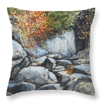 Throw Pillow featuring the painting Boulders At Purgatory Chasm by Lynn Babineau