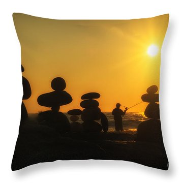 Boulders By The Sea Throw Pillow