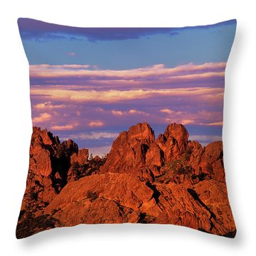 Boulders Sunset Light Pinnacles National Park Californ Throw Pillow