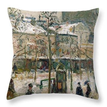 Boulevard De Rocheouart In Snow Throw Pillow by Camille Pissarro