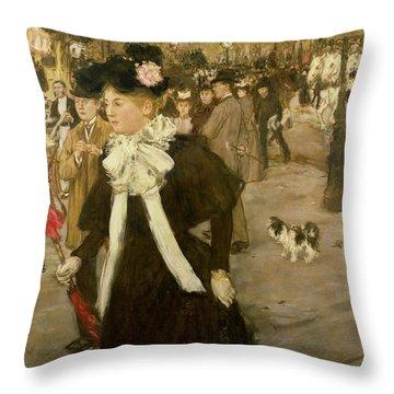 Boulevard Des Italiens  Throw Pillow by Jean Francois Raffaelli