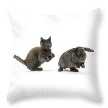 Bouncing With Bunny Throw Pillow