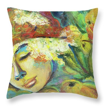 Bouqet-modern,colourful Portrait.girl Portrait With Fruits And Flowers.  Throw Pillow