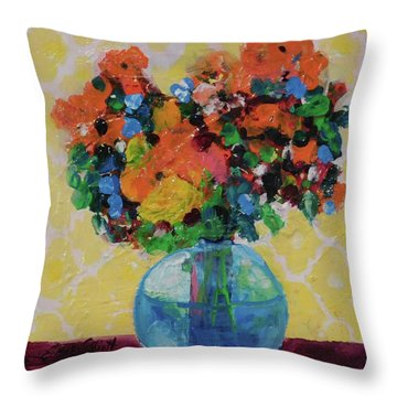 Bouquet-a-day #7 Original Acrylic Painting Free Shipping 59.00 By Elaine Elliott Throw Pillow