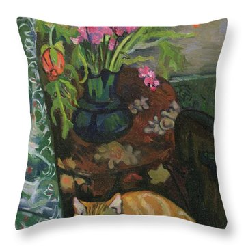 Bouquet And A Cat Throw Pillow by Marie Clementine Valadon