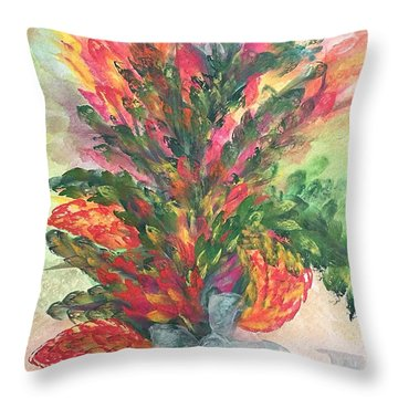 Bouquet And Ribbon Throw Pillow
