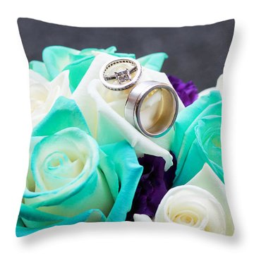 Bouquet And Wedding Rings Throw Pillow