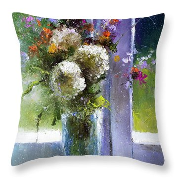Bouquet At Window Throw Pillow