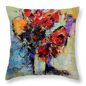 Bouquet De Couleurs Throw Pillow by Elise Palmigiani
