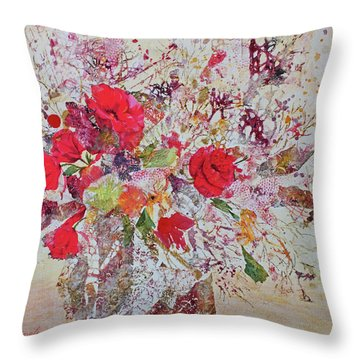 Throw Pillow featuring the painting Bouquet Desjours by Joanne Smoley