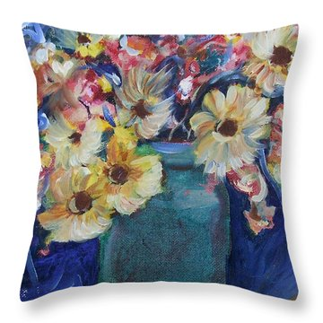 Bouquet Flowers Of Blue  Throw Pillow