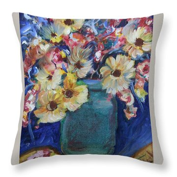 Bouquet Flowers Of Blue  Throw Pillow