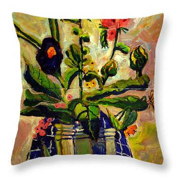 Throw Pillow featuring the painting Bouquet In A Coffee Can On A Blue Table Cloth  by Charlie Spear