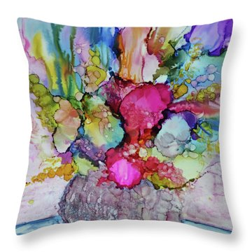 Throw Pillow featuring the painting Bouquet In Pastel by Joanne Smoley