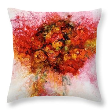 Throw Pillow featuring the painting Bouquet In Red by Carolyn Rosenberger