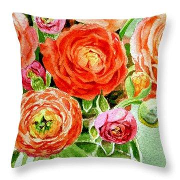 Ranunculus Bouquet Throw Pillow