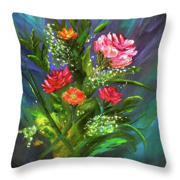 Throw Pillow featuring the painting Bouquet by Mary Scott