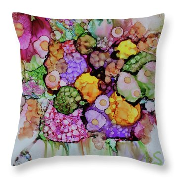 Throw Pillow featuring the painting Bouquet Of Blooms by Joanne Smoley