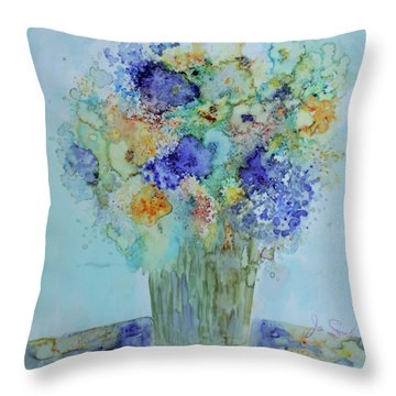 Throw Pillow featuring the painting Bouquet Of Blue And Gold by Joanne Smoley