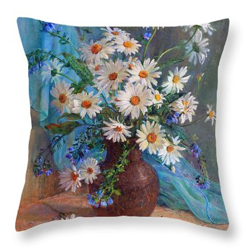 Bouquet Of Daisies In A Vase From Clay Throw Pillow