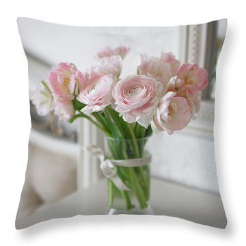 Bouquet Of Delicate Ranunculus And Tulips In Interior Throw Pillow