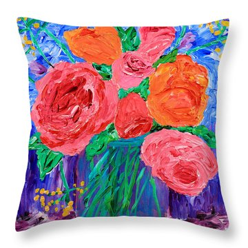 Bouquet Of English Roses In Mason Jar Painting Throw Pillow